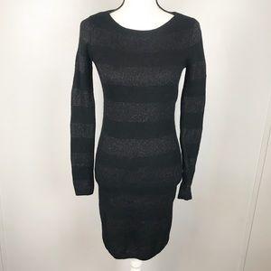 Vineyard Vines Black Stripe Cashmere Sweater Dress